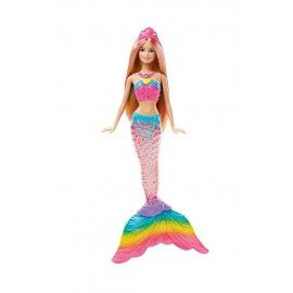 Barbie Dreamtopia Rainbow Lights, Muñeca, Sirena Luces de Arcoíris (Mattel DHC40)